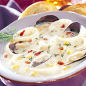 Calamari Chowder with Mussels and Roasted Corn