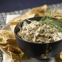 Warm Mushroom Dip with Baked Pita Crisps